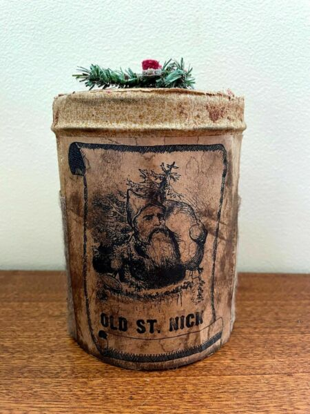 """Primitive Country Old St Nick Christmas Tin 5"""" x 4quot; Early American look $13.00"""