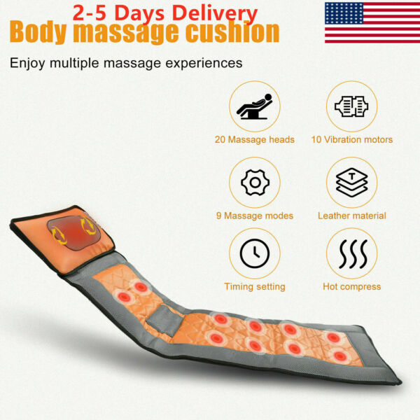 Electric Foldable Back Massager Massage Cushion Full Body Seat Pad Heat for Pain $84.62