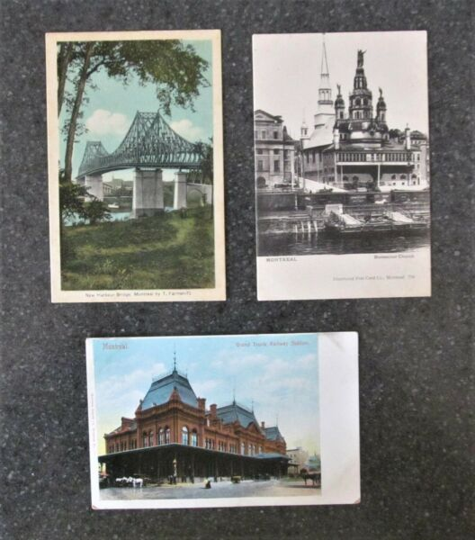 Three Old Postcards Montreal Quebec Canada Unposted