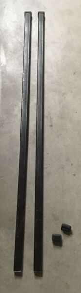 NICE COND THULE 50quot; SQUARE LOAD CROSS BARS LB50 ROOF RACK PAIR WITH 4 END CAPS $49.77
