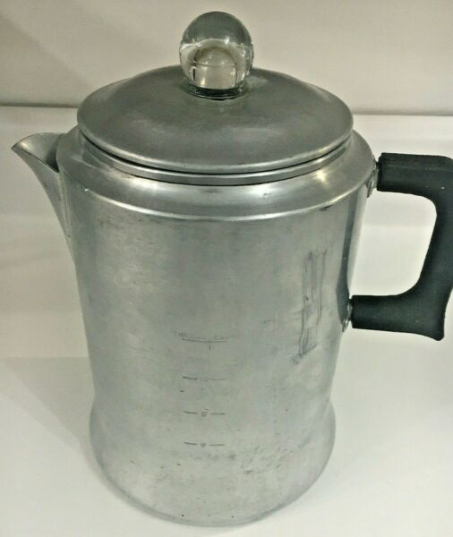 Vintage Aluminum 12 cup Percolator coffee pot Camp stove top UNBRANDED