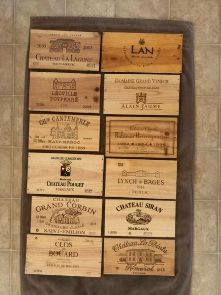 12 Assorted mostly French wooden wine box end panels