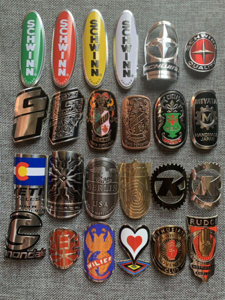 2PCS vintage cycling Bicycle Bike Alloy Head Badge Decals Stickers emblem