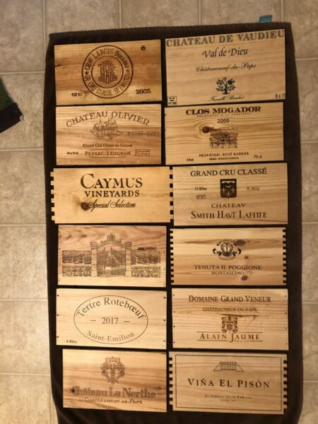 12 Different wooden wine box end panels