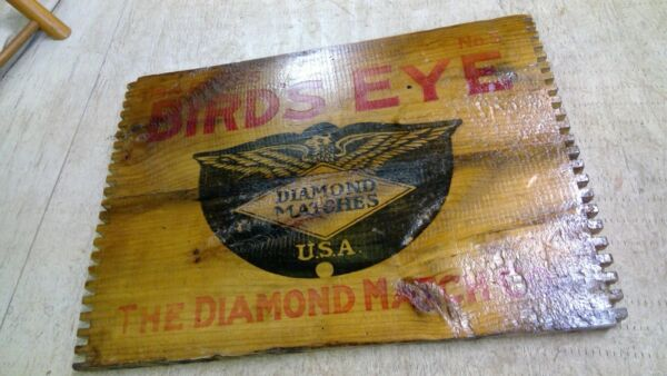Antique Birds Eye Diamond Match Co. Wood Crate END Dovetail Joints sign