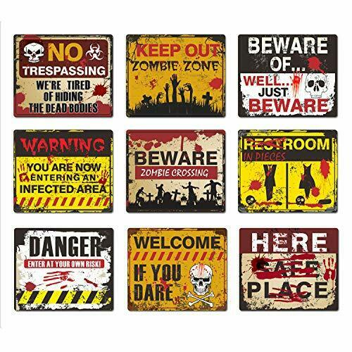 9 Pack Beware Signs Halloween Signs Haunted House and Horror Themed Decorations $16.00
