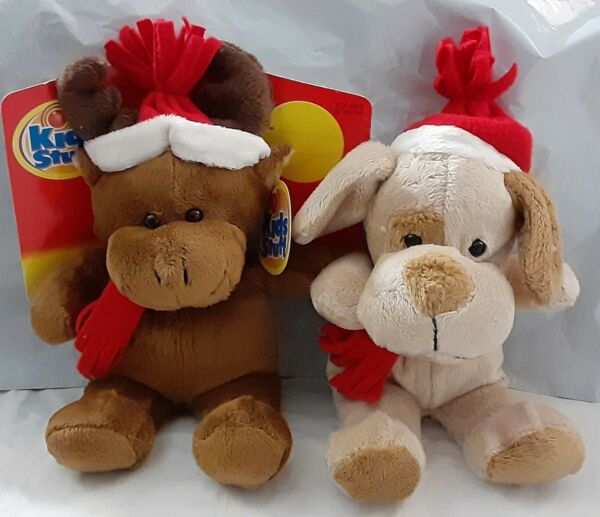 NEW Lot 2 New Soft Stuffed Plush Puppy Dog amp; Moose in Santa Hats Best Made Toys $14.99