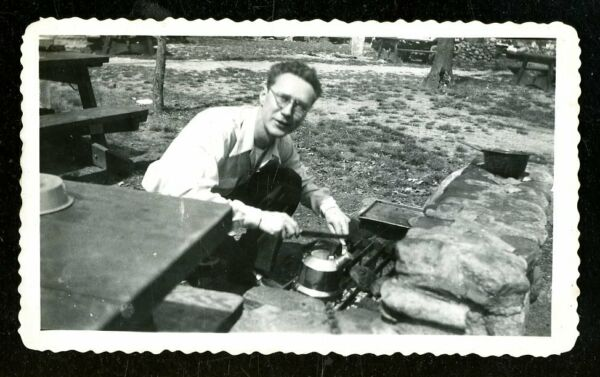 Vintage Photo MAN USED OUTDOOR GRILL TEA KETTLE PICNIC IN THE WOODS $3.75