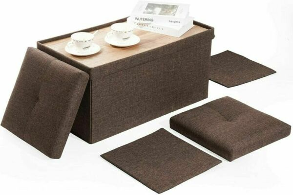 Rectangular Bench Storage Ottoman Lid W Tray Coffee Table Footrest Stool Brown