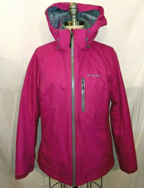 Columbia Womens Omni Heat 3 in 1 Jacket Removable Hood Hot Pink Gray Size M $59.95