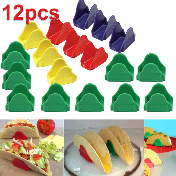 12 Taco Holders Multicolored Proper Hard Shell Stand Fun Way To Eat $8.50