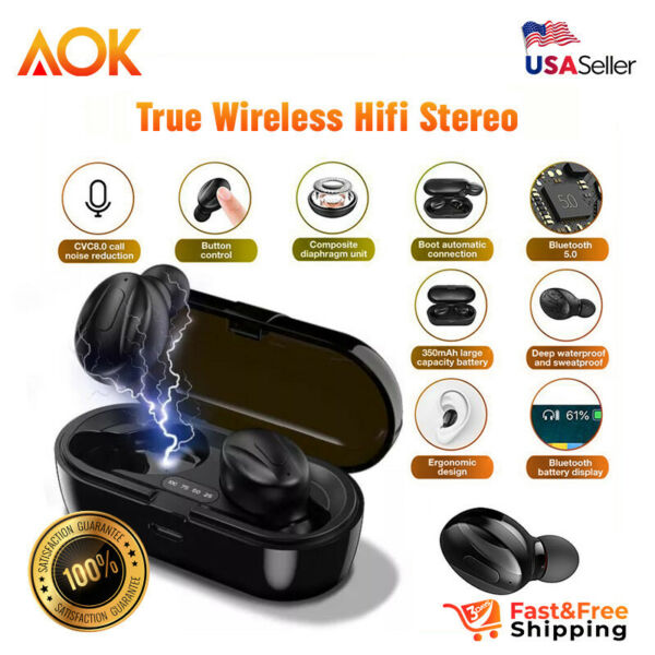 Bluetooth Earbuds For iPhone Samsung Android Wireless Earphone IPX5 Water Proof $15.85