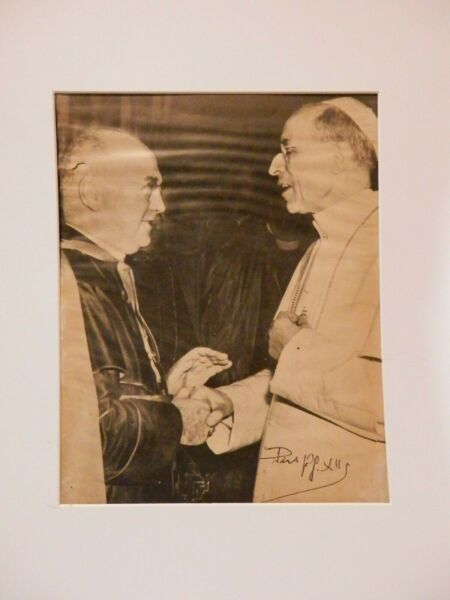 Pope Pius XII signed vintage photo priest estate incredible
