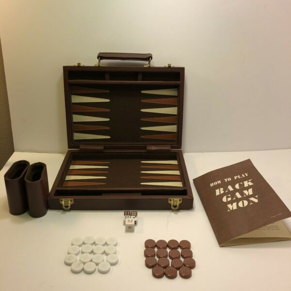 Vintage APEX Backgammon Game Set in a Faux Brown Leather Case w Book
