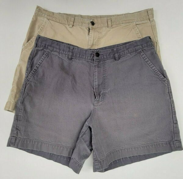 Lot of 2 STAINED RIPPED Patagonia 7quot; Stand Up Canvas Shorts Mens Size 38