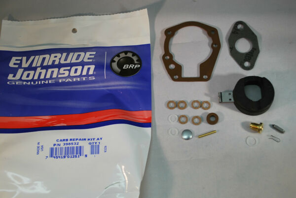 New Johnson Evinrude OEM Outboard Carb Kit with Float 398532 BRP OMC Carburetor $22.99