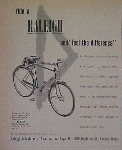 1953 Raleigh Champion Bike Roadster Archer Bicycle of Champions Black amp; White Ad $5.99