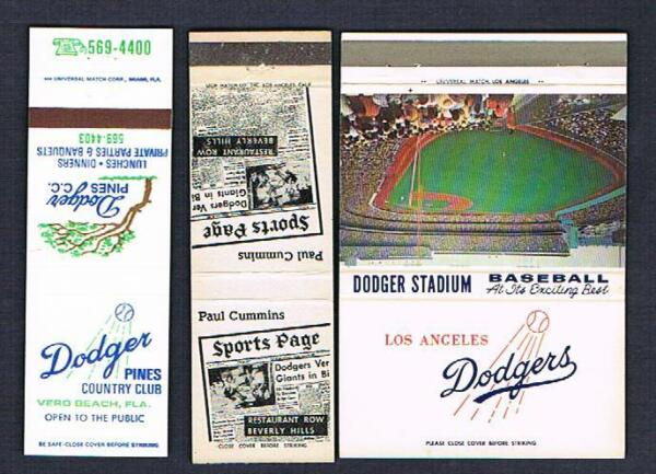 3 old Los Angeles Dodgers baseball matchbook covers matchcover Giants Stadium