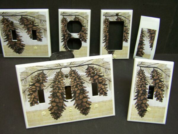 RUSTIC CABIN PINE CONES AND BRANCH #21 LIGHT SWITCH COVER PLATE OR OUTLET COVER