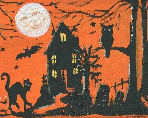 Come In Dearie Witch Pumpkin Bat Graves Moon Face Black Cat  Halloween  print