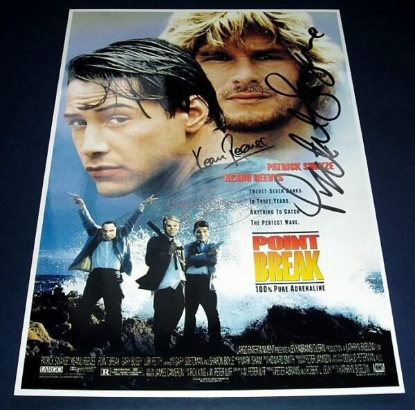 POINT BREAK CAST x3 PP SIGNED POSTER 12X8 REEVES SWAYZE