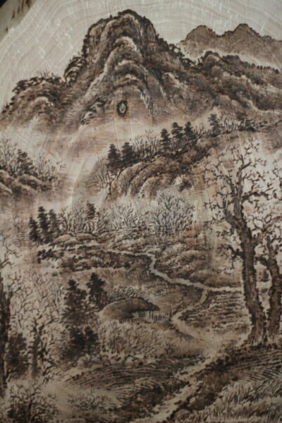 ORIGINAL ASIAN PAINTING WOODBURNING DRAWING  ART PYROGRAPHY_KOREAN LANDSCAPE