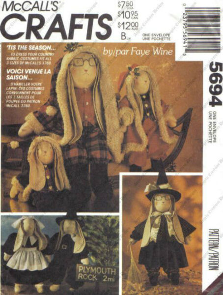 McCall#x27;s 5694 Costumes to Dress Up Your Country Rabbit Pattern New or Used $4.99