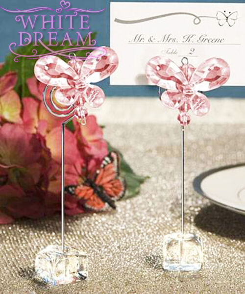 Pink - Butterfly Crystal - Place Card Holder Wedding Favours  Table Decoration