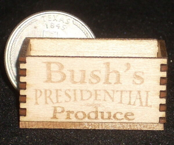 Dollhouse Miniature Bush's Presidential Produce Crate 1:12 Grocery Store Texas