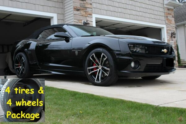 4) 20x10 Tires Package Black Machined Camaro 2010 up 41 ZL1 Wheels Rims TPMS Set