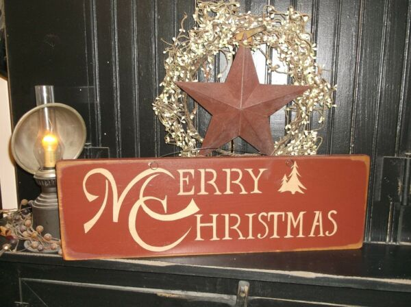 Wood Prim Sign MERRY CHRISTMAS  Rustic Wall Decor Holiday Christmas Sign