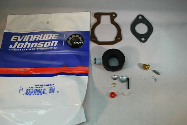 New Johnson Evinrude OEM Outboard Carburetor Kit with Float 398453 BRP OMC $22.99