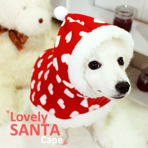 Luxury Pet Apparel Heart Santa Cape Clothes Pink Small XLarge Shirt Hoodie Dog $21.95