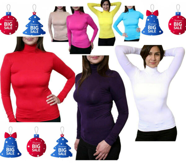 Pick Your Sexy Soft Seamless Stretch Long Sleeve Mock Neck Turtleneck Blouse Top