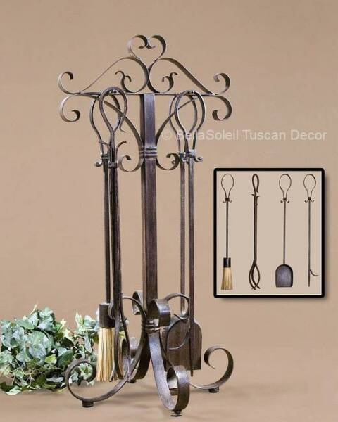 FRENCH TUSCAN Mediterranean Style FIREPLACE TOOL SET ~ Set of 5