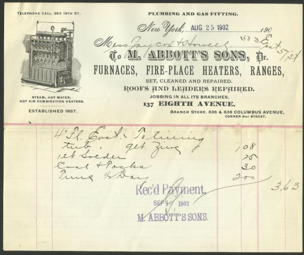 1902 Abbotts Sons FURNACES FIREPLACE HEATERS RANGES New York Vintage Letterhead