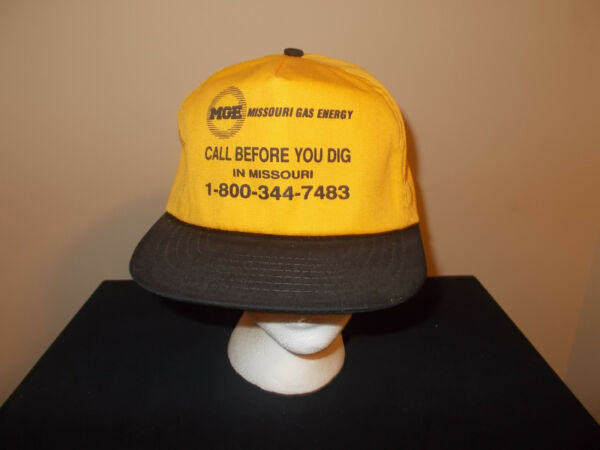 VTG 1990s Missouri Gas amp; Energy Call Before You Dig yellow snapback retro hat $29.99