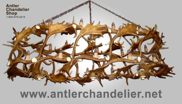 REAL ANTLER WHITETAILFALLOW CUSTOM CHANDELIER 18 LIGHTS Rustic Lamps ACS