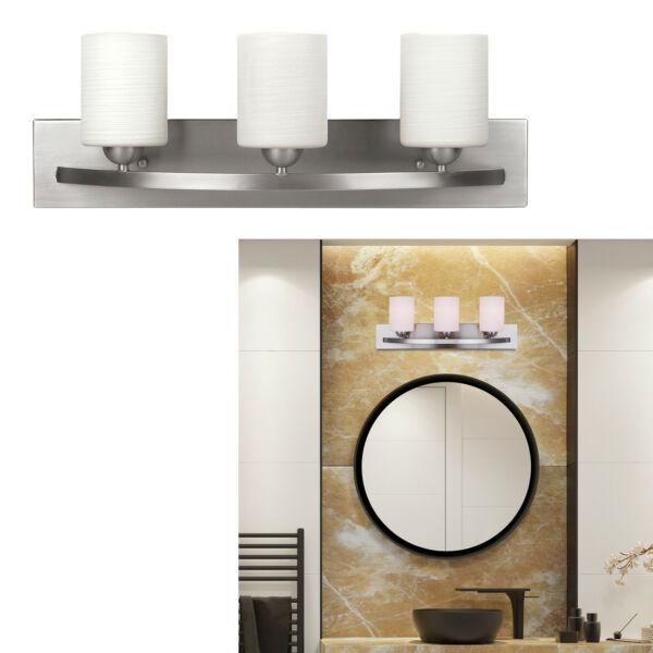 3 Bulb Vanity Light Bar Bathroom Fixture, Brushed Nickel