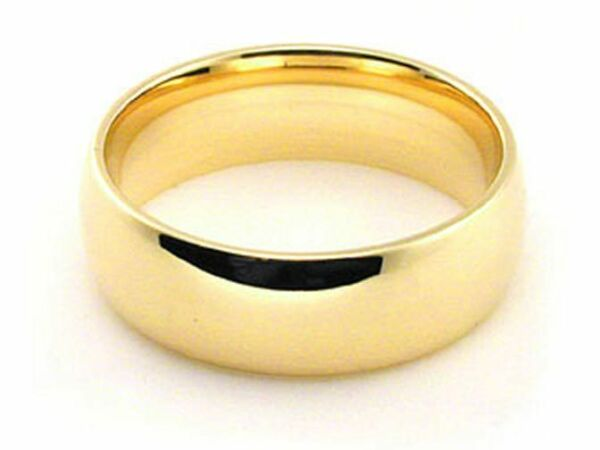 14k yellow Solid Gold Wedding Band 6mm Half Round Dome Comfort Fit Ring Mens