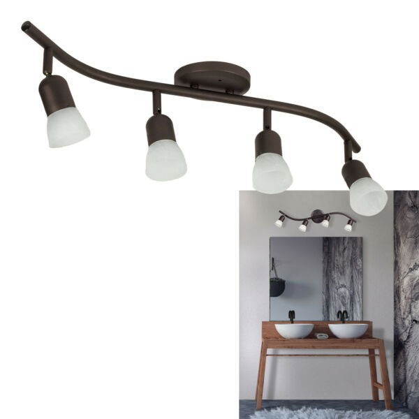 4 Light Track Lighting Ceiling Wall Interior Lamp Fixture, Oil Rubbed Bronze