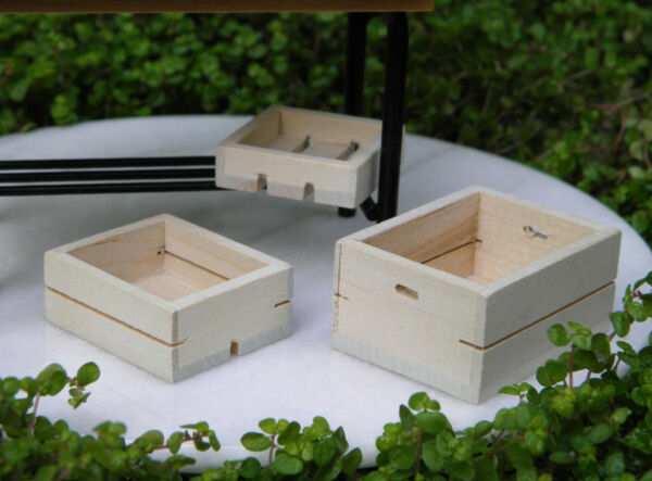 Miniature Dollhouse FAIRY GARDEN ~ Set of 3 Wood Wooden Fruit & Vegetable Crates