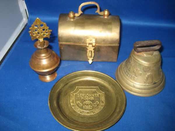 4 Antique German Embossed Brass BellLided box PlatePerfume bottle 1LBS 4 oz