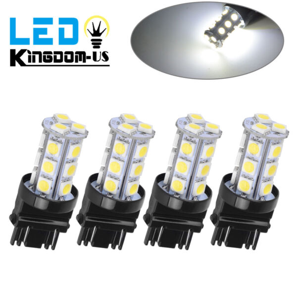 4x Pure White 3157 5050 3156 18SMD Tail BrakeParking Turn Signal LED Light Bulb