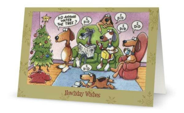 UR Words BUSINESS Humorous FUNNY DOGS Water Tree CUSTOM Christmas Holiday CARDS $42.00