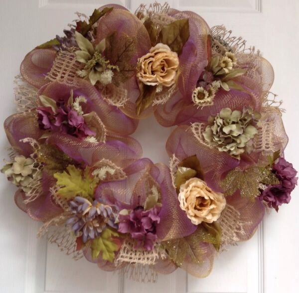 New! Large premium Handmade Pale Plum And Gold Floral Wreath