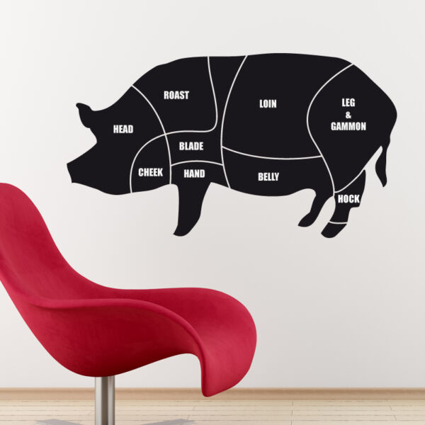 Cuts of meat diagram wall sticker pork pig butchers decal cm1 GBP 22.99