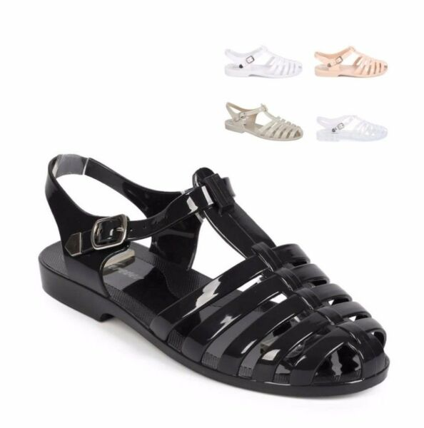 WOMEN'S JELLY SLINGBACK SANDALS  BUCKLE STRAPPY FLAT SHOES
