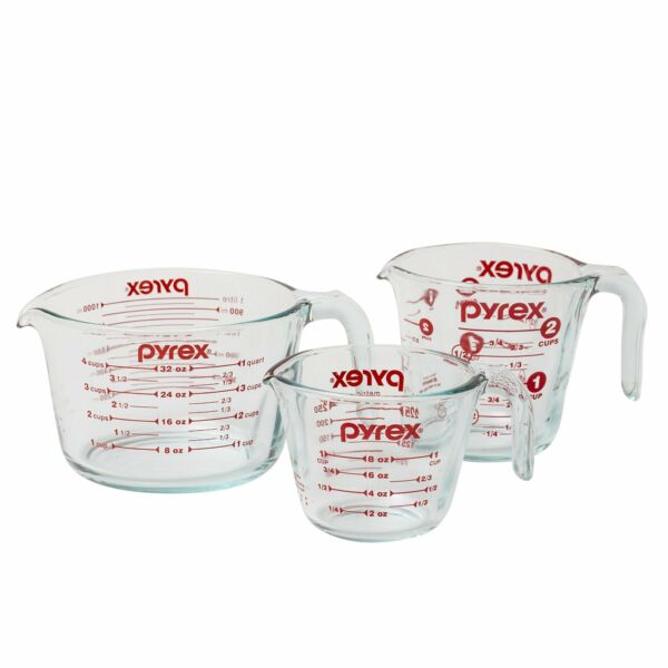 Pyrex 1118990 3-Piece Measuring Cup Set, Clear, New, Free Shipping