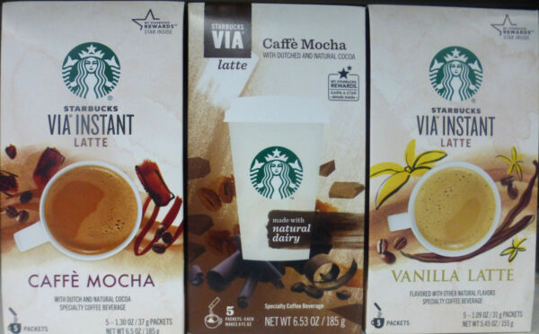 STAR BUCKS Via Instant Latte Coffee Drink Mix Flavor Choices Pick One